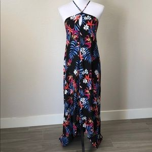 Dark Floral Uneven Hem Maxi Dress